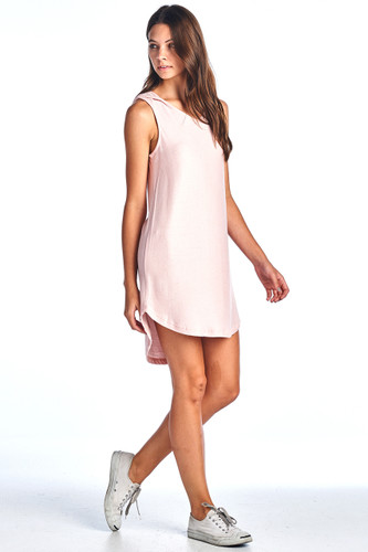 Made in USA Comfy Hooded Tank Ribbed Dress Pink Medium