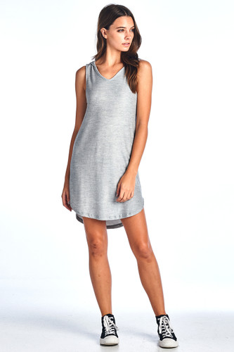Made in USA Comfy Hooded Tank Ribbed Dress Grey Medium
