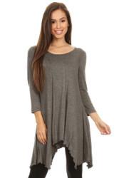 Asymmetrical Tunic Top 3/4 Sleeve Grey Small