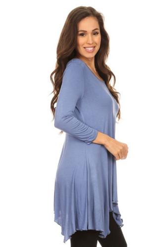 Asymmetrical Tunic Top 3/4 Sleeve Blue Small
