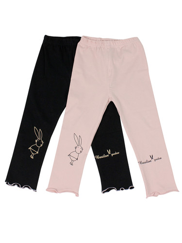 Ultra Soft Kids'Cotton Capri Bunny 2 Pack Pink/Black 18M