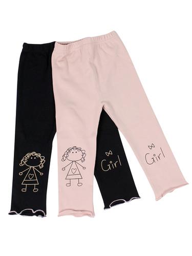 Ultra Soft Kids'Cotton Capri Cute Girl 2 Pack Pink/Black 2T