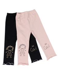 Ultra Soft Kids'Cotton Capri Cute Girl 2 Pack Pink/Black 3T