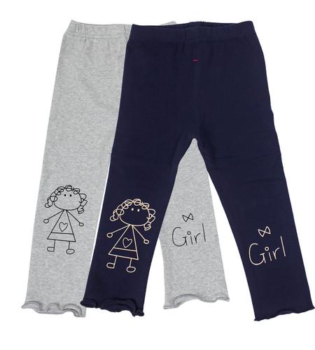 Ultra Soft Kids'Cotton Capri Cute Girl 2 Pack Grey/Navy 2T