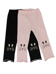 Ultra Soft Kids'Cotton Capri Kitty 2 Pack Pink/Black 2T