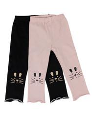Ultra Soft Kids'Cotton Capri Kitty 2 Pack Pink/Black 4T
