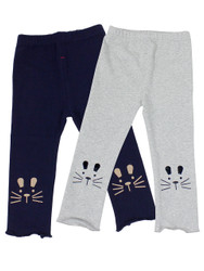 Ultra Soft Kids'Cotton Capri Kitty 2 Pack Grey/Navy 2T