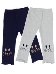 Ultra Soft Kids'Cotton Capri Kitty 2 Pack Grey/Navy 5T