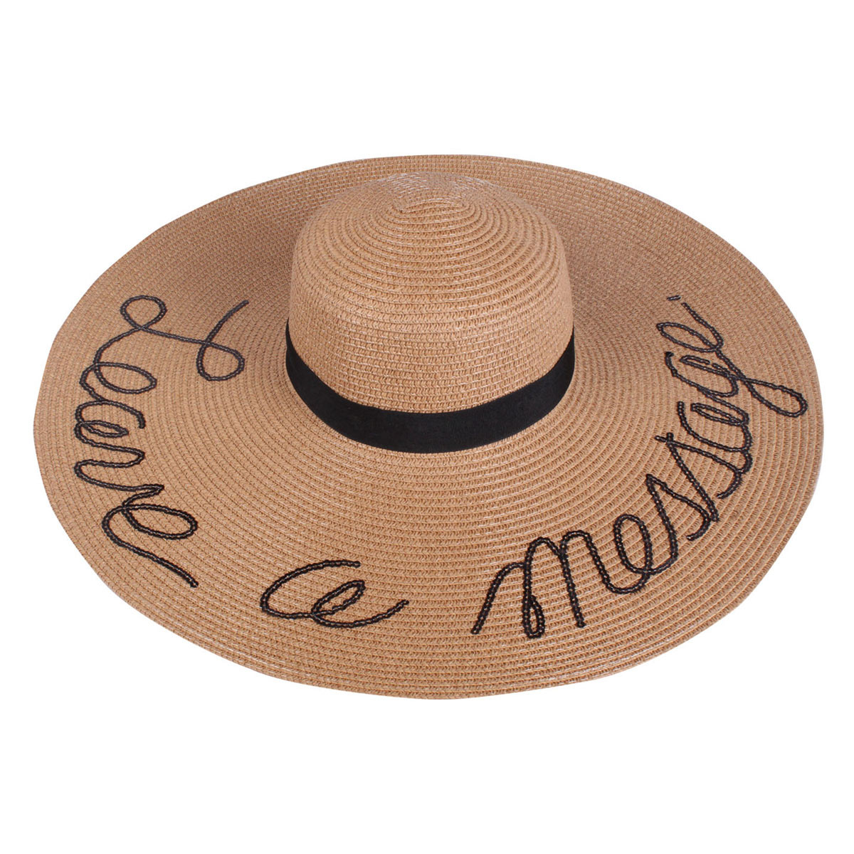 ddedf737 Sequined Large Floppy Straw Hat Leave a message Khaki ...