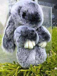 Twon toned Grey Rexy Rabbit Keychain Purse Charm
