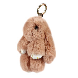 rose taupe rabbit purse charm keychain genuine rabbit fur