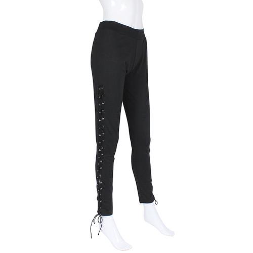 Black Lace up Cotton Leggings Size S