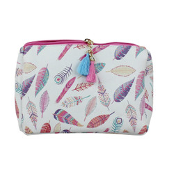 Pink Feather Print Multiuse Bag Tassels