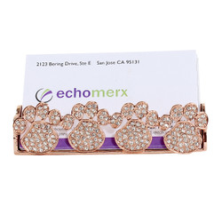 rose gold paw print card holder jeweled