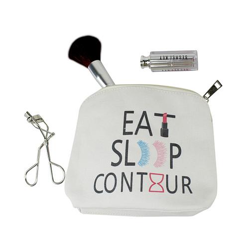 Eat Sleep Contour Canvas Makeup Bag