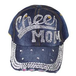 Cheer Mom Rhinestone Distressed Cap Denim