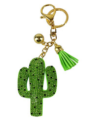 Cactus Rhinestone Key Chain with Padded Felt Backing