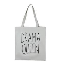 Drama Queen White Canvas Tote Bag