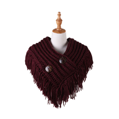 Cable Knit Button Collar Scarf Burgundy