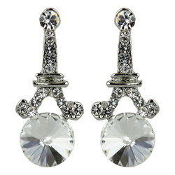 Eiffel Tower Crystal Post Earrings Silver