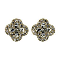 Cubic Zirconia Flower Stud Earrings Silver Post Gold