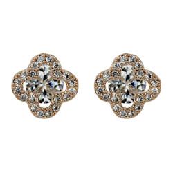 Cubic Zirconia Flower Stud Earrings Silver Post Rose Gold