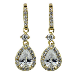 Cubic Zirconia Teardrop Earrings Gold