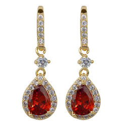Cubic Zirconia Teardrop Earrings Ruby
