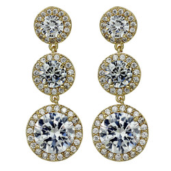 Cubic Zirconia Three Tier Circle Dangle Earrings Silver Post Gold