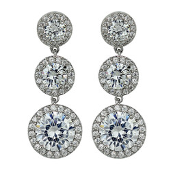 Cubic Zirconia Three Tier Circle Dangle Earrings Silver Post Silver