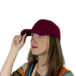 Burgundy Sueded Cap with Optional Rose Patch