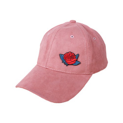 Pink Sueded Cap with Optional Rose Patch