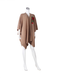 Knitted Ruana Wrap with Embroidered Flower Khaki