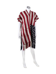 Old Glory American Flag KnittedRuana Open Front Poncho with Tassels and Pockets