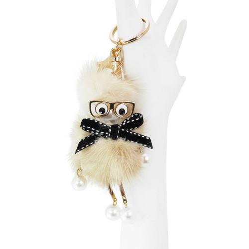 Dangling Chick Bag Mink Fur Beige