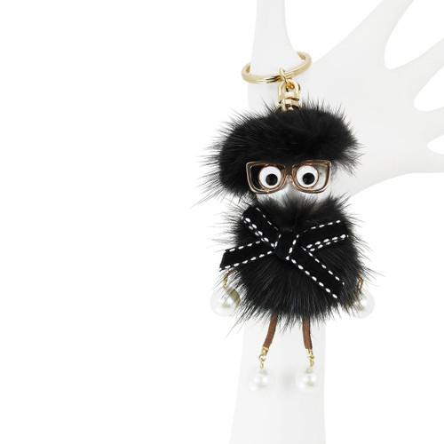 Dangling Chick Bag Mink Fur Black