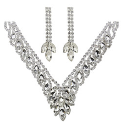 Teardrop Cubic Zirconia Necklace Earrings Set Silver