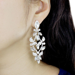 Cubic Zirconia Chandelier Earrings Clear Crystals 3 Inches
