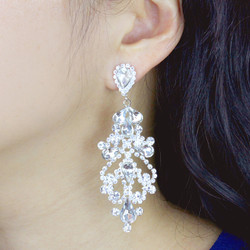 Cubic Zirconia Victorian Teardrop Earrings Clear Crystals 3 Inches