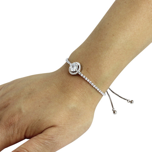 Brilliant-cut Cubic Zirconia Tennis Slider Bracelet Silver