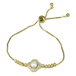 Cubic Zirconia and Faux Pearl Flower Slider Bracelet Gold