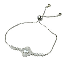 Cubic Zirconia and Faux Pearl Flower Slider Bracelet Silver