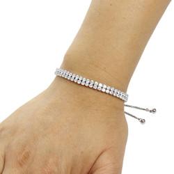2 Row Cubic Zirconia Tennis Slider Bracelet Silver
