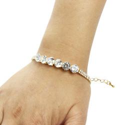 Round-cut Cubic Zirconia Tennis Chain Bracelet Double Row Gold