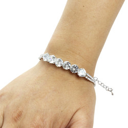 Round-cut Cubic Zirconia Tennis Chain Bracelet Double Row Silver