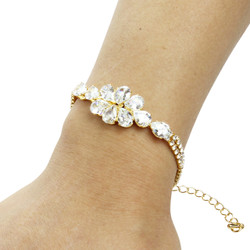 Pear-cut Cubic Zirconia Tennis Chain Bracelet Double Row Gold