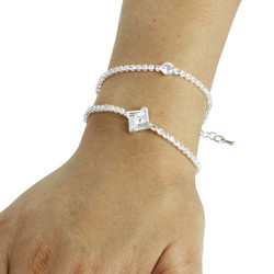 Cubic Zirconia Geometric Layered Bracelet Long Chain Silver