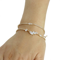 Cubic Zirconia Marquise-Cut Layered Bracelet Long Chain Gold