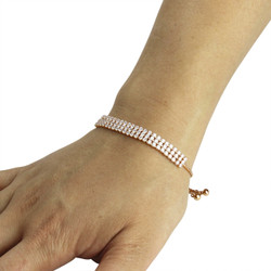 3 Row Cubic Zirconia Tennis Slider Bracelet Rose Gold