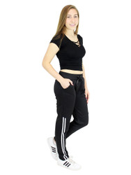 Fleece Lined Half-Stripes Sports Pants Black and White